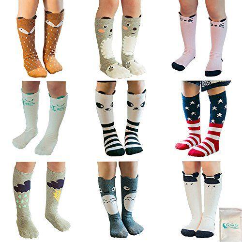 5 Pairs Unisex Baby Girls Socks Knee High Socks Animal Baby Cotton Stockings