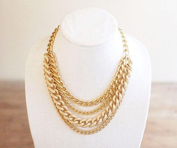 6cf82fe9578 Gold Statement Necklace, Multi Strand, Gold Chain Necklace, Chunky Gold  Chain Bib Necklace
