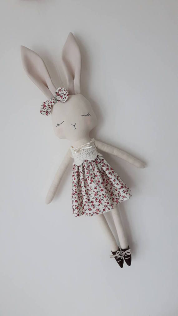Easter bunny toy Fabric doll bunny 14.5 inch for girl Easter rabbit plush