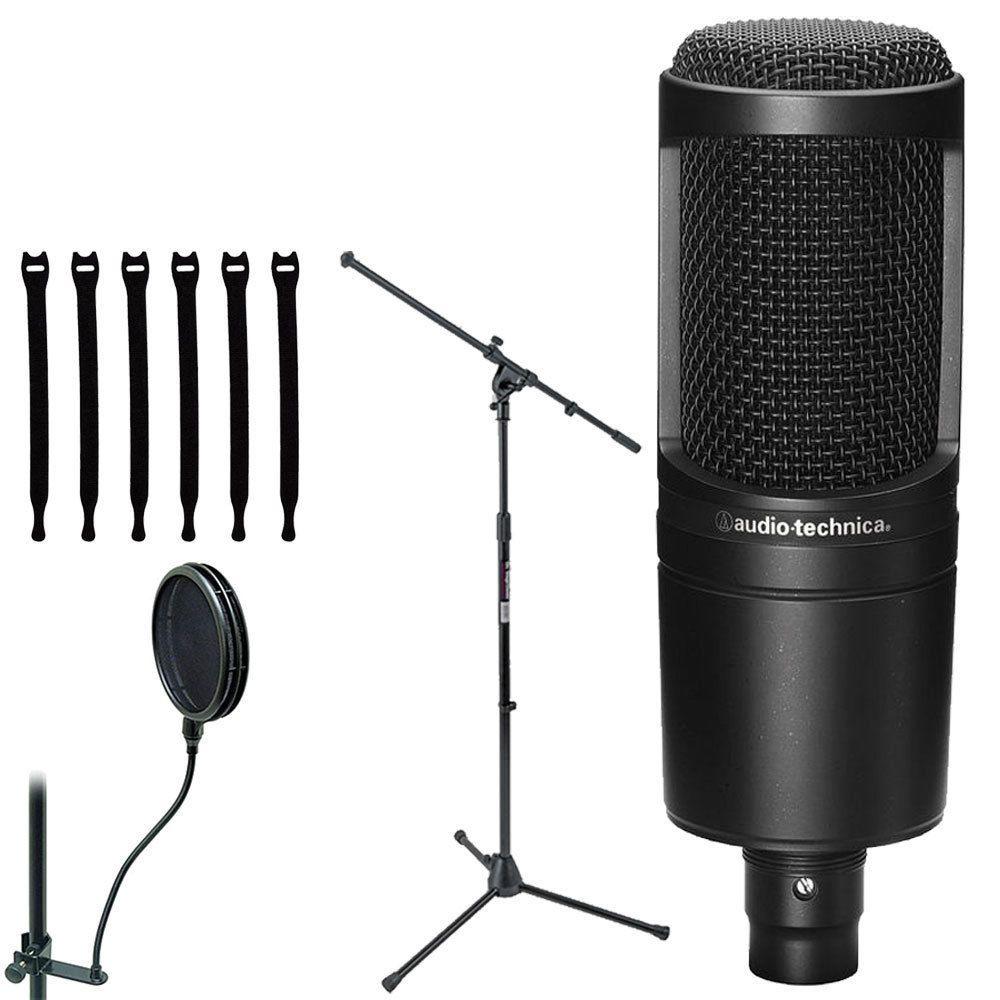 Audio Technica At2020 Cardioid Condenser Studio Microphone Stand Bundle Audiotechnica Microphone Audio Technica Microphone Stand