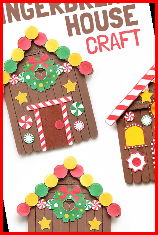 Popsicle Stick Gingerbread House Craft 10+ | chris