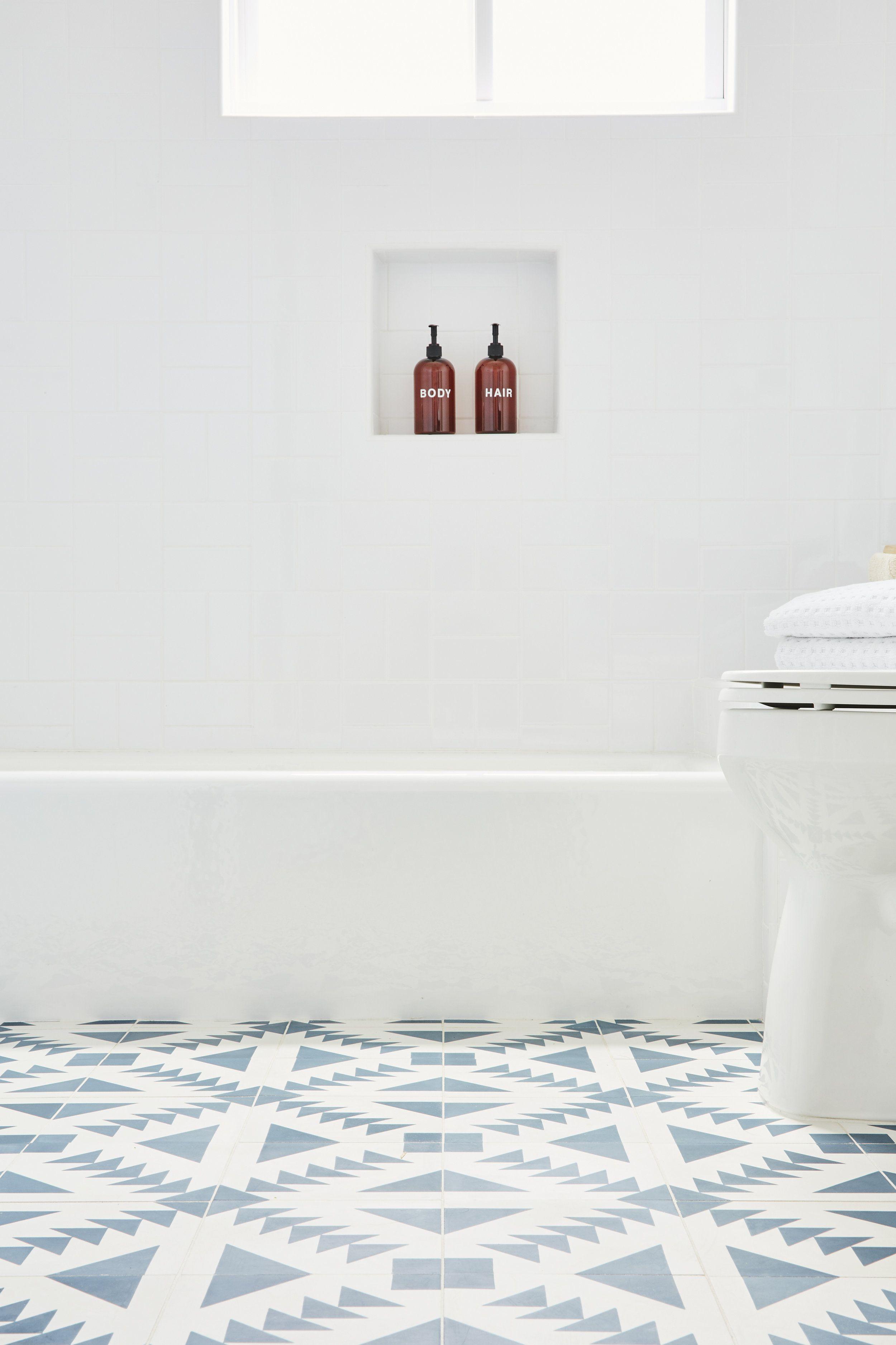 Kids Bathroom Blue Patterned Cement Tile Nina Jizhar Design Patterned Bathroom Tiles Tile Bathroom Kids Bathroom