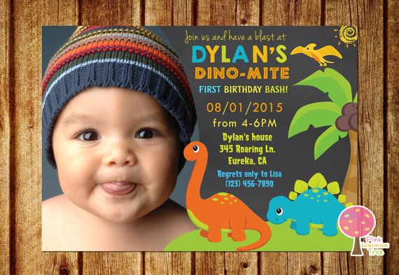 Dinosaur birthday party invitation chalkboard invitation 1st dinosaur birthday party invitation with photo this listing is for a digital filmwisefo Image collections