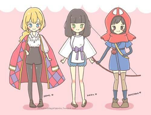 female versions of Howl, Haku and Ashitaka!! amazing cosplay ideas oh my goodness!!!!