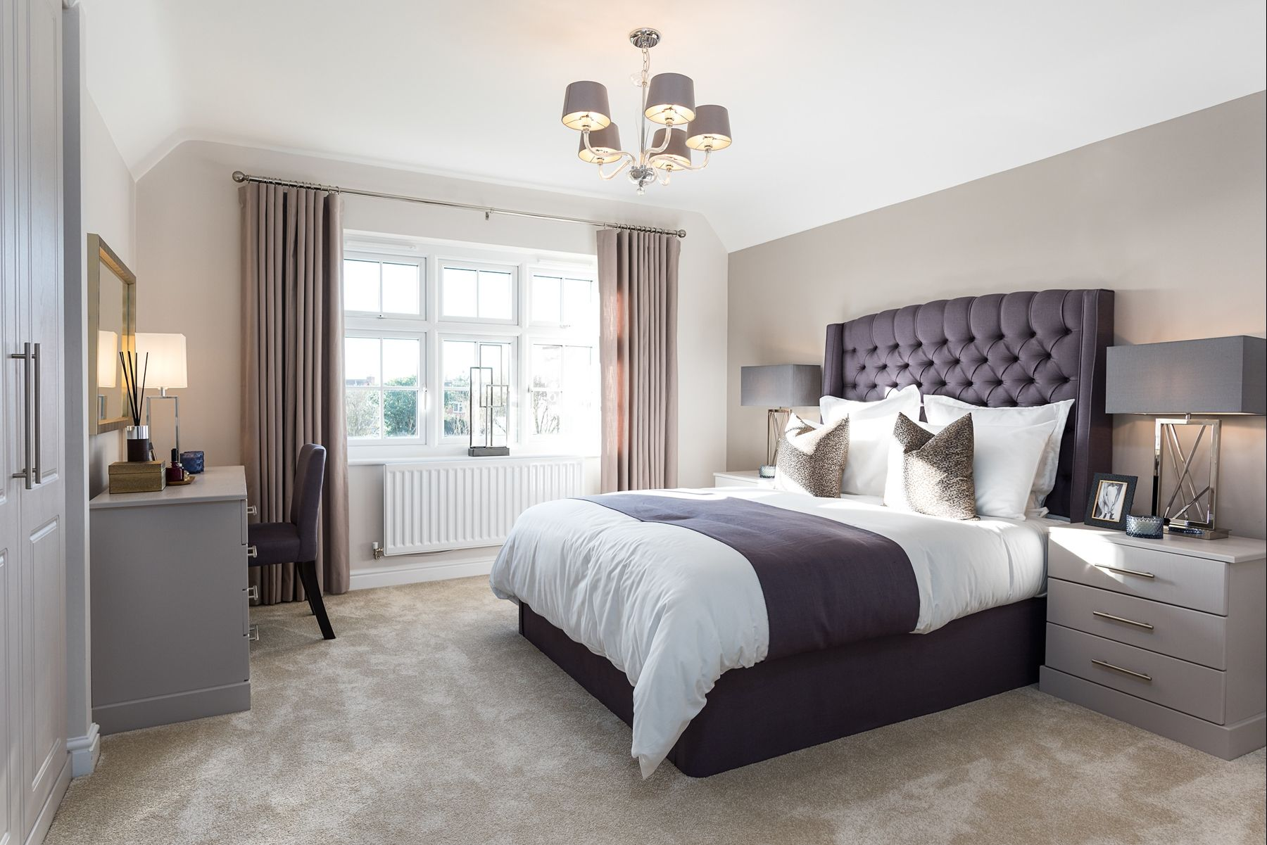 We Love The Rich Tones Of Plum Fabric Contrasted With A Pebble Grey Feature Wall
