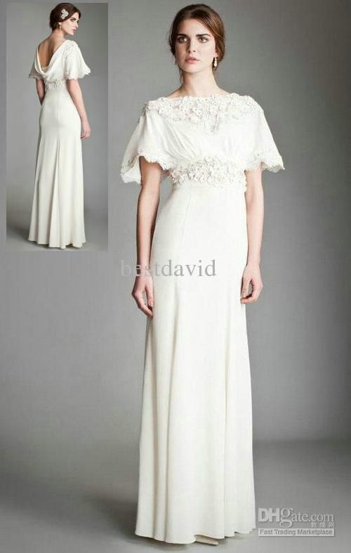 Cheap Boat Neck Cowl Back Wedding Dress 2013 Short Sleeve Floral