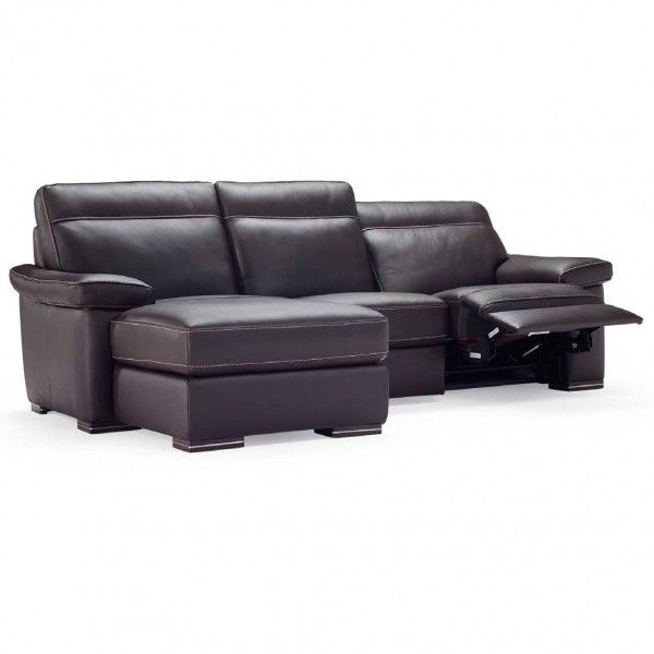 Natuzzi Editions Latina Leather Sofa With Chaise lounge leather