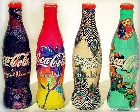 Coca-Cola in Artsy Bottles art glass special bottles coca-cola painted