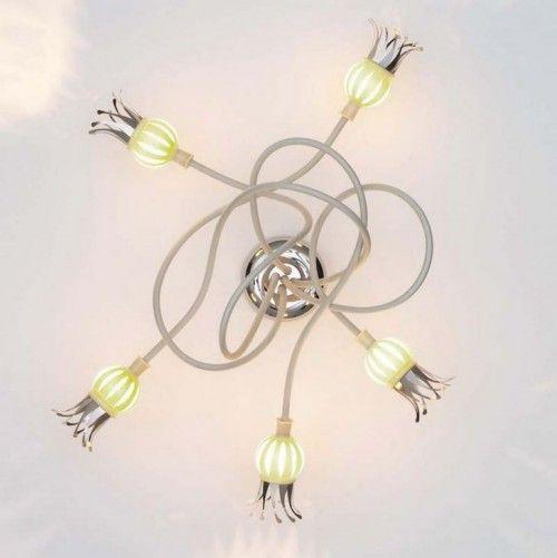 Serien Lighting Poppy Wall Ceiling 5 Arme Mundgeblasenes Glas Rubinrot Und Lichtideen