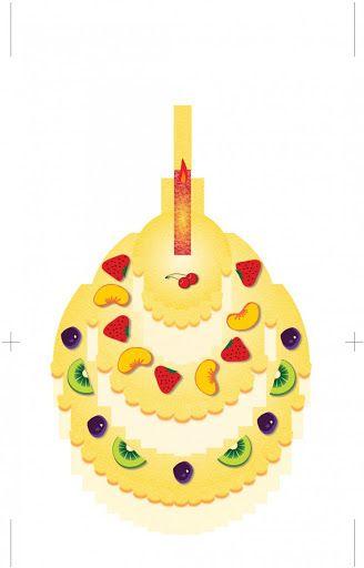 Thiệp popup 3D hình chiếc bánh sinh nhật Ideas for the House - birthday cake card template