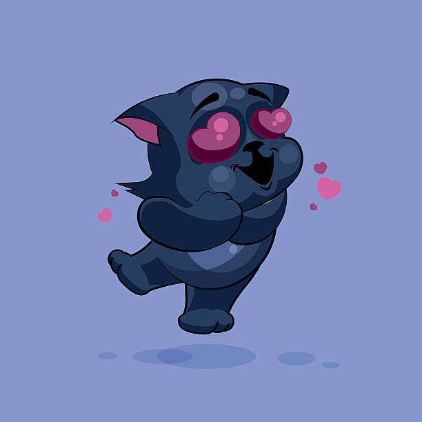 Vector Stock Illustration Isolated Emoji Character Cartoon Black Cat