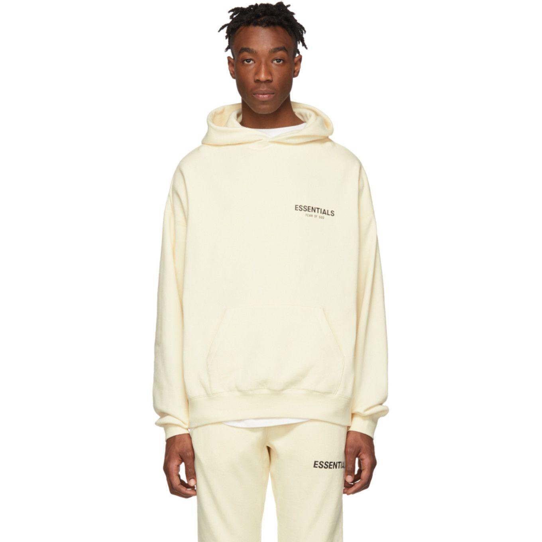 Essentials Off White Pullover Hoodie Ssense Pullover Hoodie Clothing Essentials Hoodies [ 1360 x 1360 Pixel ]