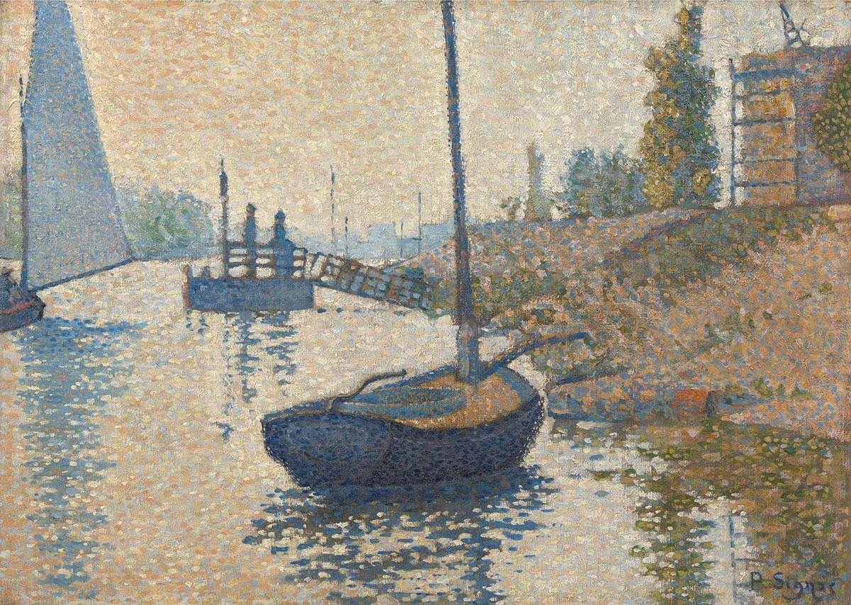 """Ontdek onze nieuwe aanwinst: de """"ponton de la félicité"""" bij asnières (opus nr. 143) paul signac (1886). nu op zicht! Http://bit.ly/Signac1886"""