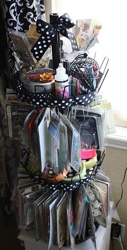 Homemade Clip it up, embellishment Organizer made from a shoe organizer.