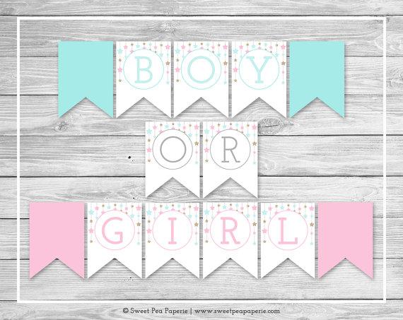 Twinkle Little Star Gender Reveal Banner Printable Gender