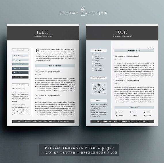 4pk Resume   CV Template Cover Letter for MS by TheResumeBoutique - microsoft resume and cv templates