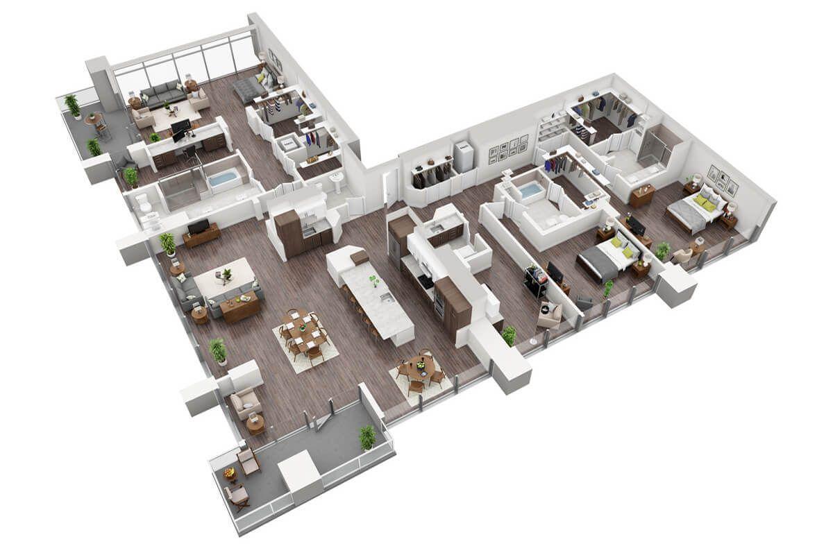 Latitude Med Center Houston Plan P3 3 Bedroom Penthouse 3 5 Bath Apartment Floor Plans Penthouse Apartment Floor Plan Houston Apartment