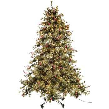 7 1/2' Fast Shape Snow Needle Pine with Lights - 7 1/2' Fast Shape Snow Needle Pine With Lights Wishes Christmas