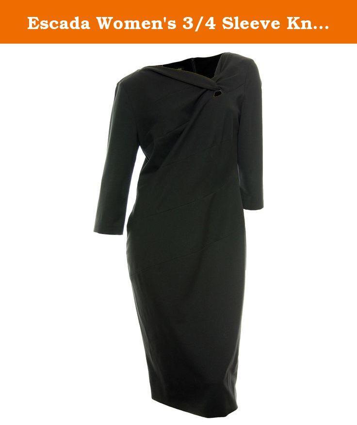 Escada Women's 3/4 Sleeve Knot Neck Detail Scuba Dress 42 (8) Black. 3/4 sleeves. Knot neck detail with keyhole cutout. Danina. Escada.