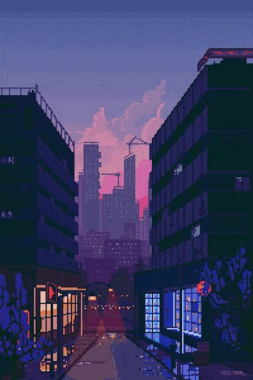 Japanese city at night with a sunset gif