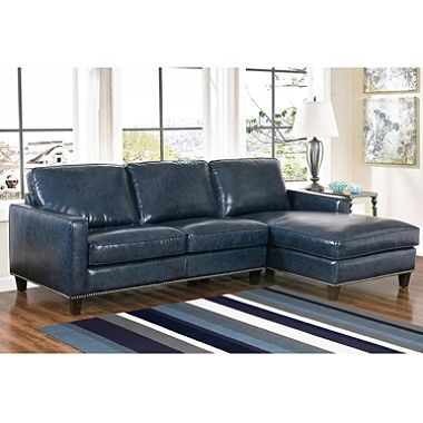 Member's Mark Oliver TopGrain Leather Sectional Sofa (Assorted Colors) is part of Cottage Living Room Sectional -  Our topgrain Oliver sectional features a chic transitional look and premiumquality construction  This exclusive, exceptional piece comes with a luxurious chaise and is offered in Navy Blue and Brown  A Striking Look The Oliver's waxed topgrain leather upholstery offers a sleek, textured, nuanced look  We leather match the sides and back, and finish the piece with a silver nailhead trim  The Oliver is available in warm, rich Brown and cool, sophisticated Navy Blue, making this sectional an elegant fit for a wide range of color and décor schemes  Outstanding Quality, Exquisite Comfort We use 2 0 highdensity foam cushioning with a top layer of feather fill, making the Oliver the best seat in the house  The seat cushions have pocket coil springs for added support, and the highquality hardwood and plywood frame ensures years of lasting use  The Oliver has removable back cushions, making it easy to clean and an excellent choice for families  Find out more with our Luxury of Leather Buyer's Guide