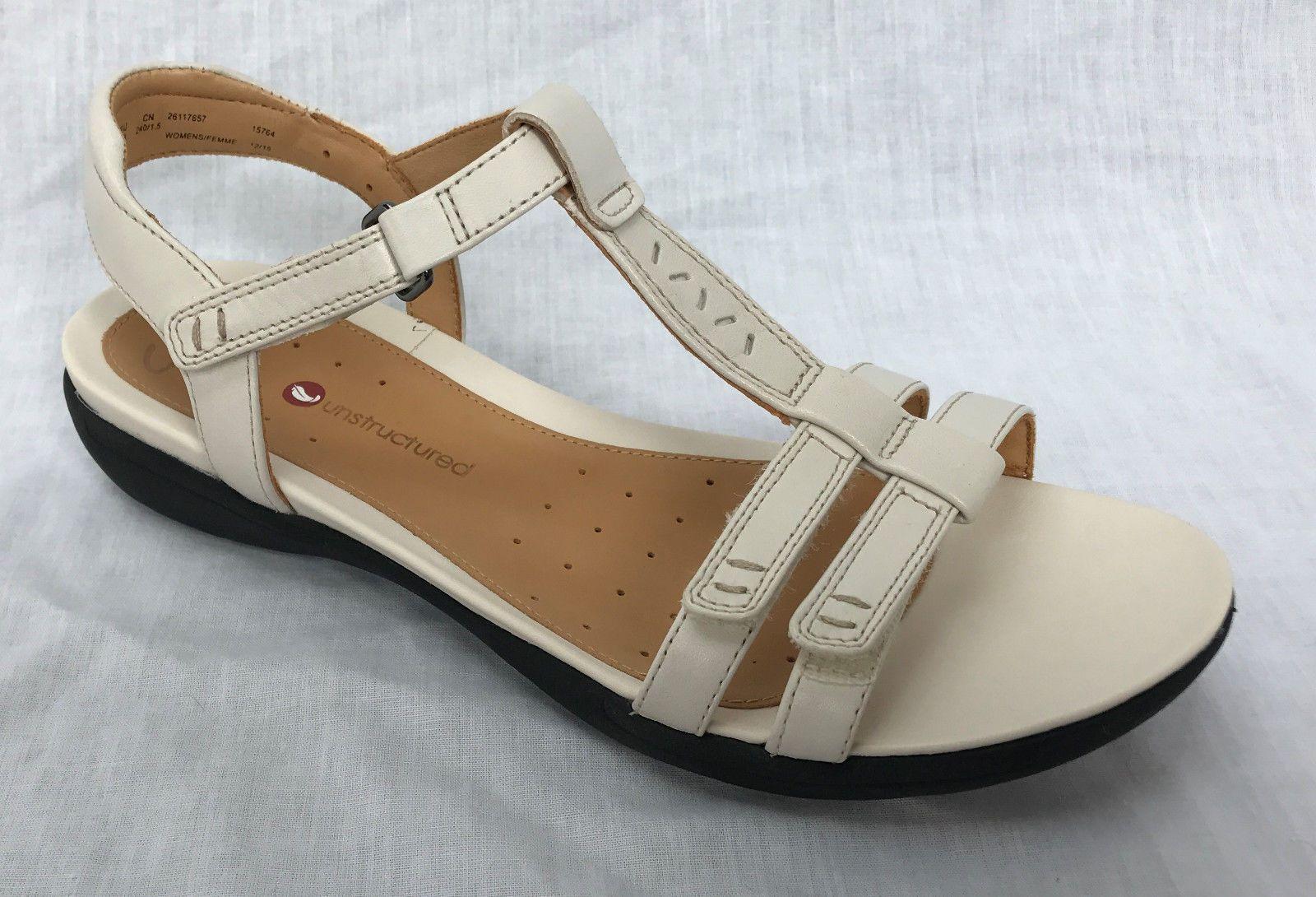 07549a9c9 BNIB Clarks Un Structured Ladies Un Vaze Off White Leather Sandals ...