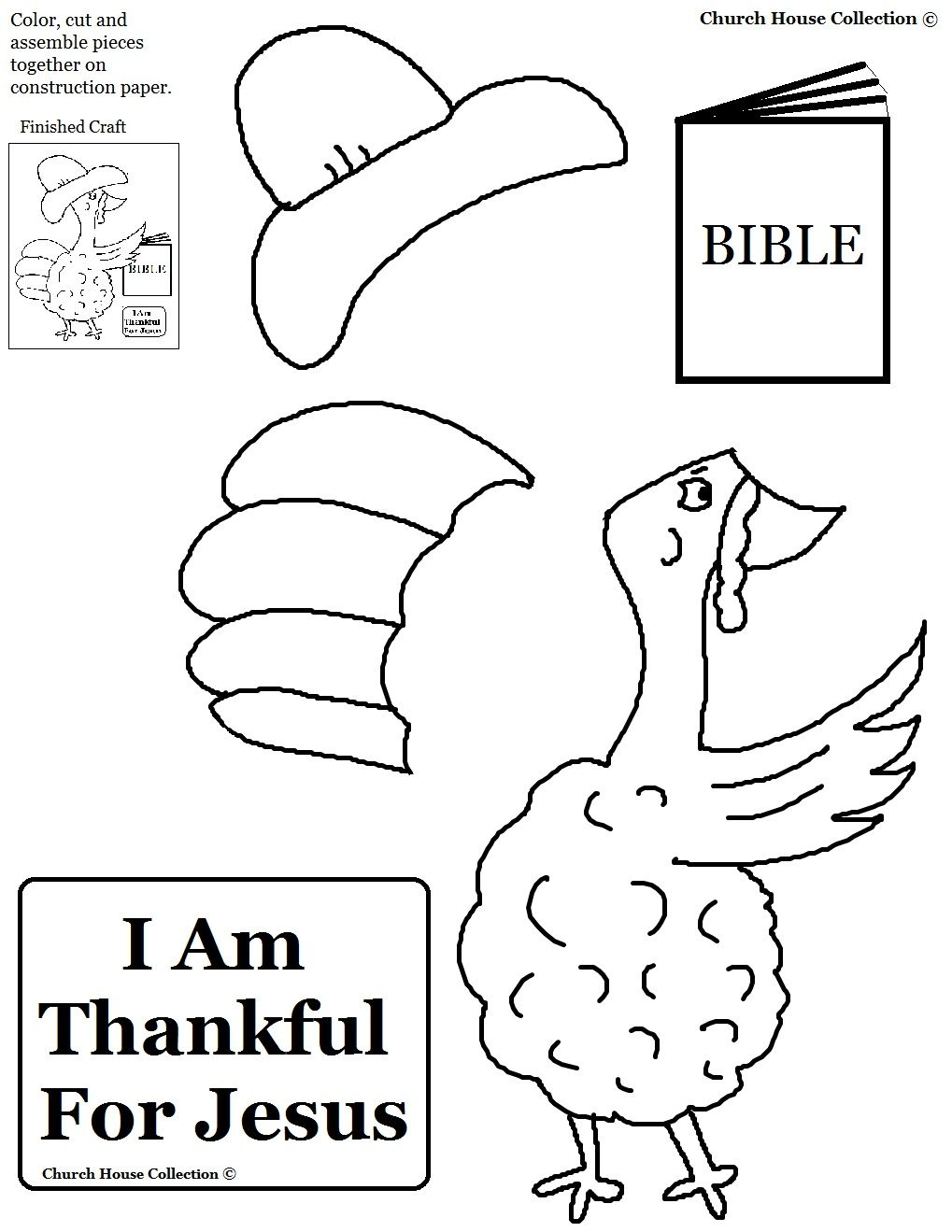Thanksgiving Turkey I Am Thankful For Jesus Cutout Activity Sheet Childrens Church