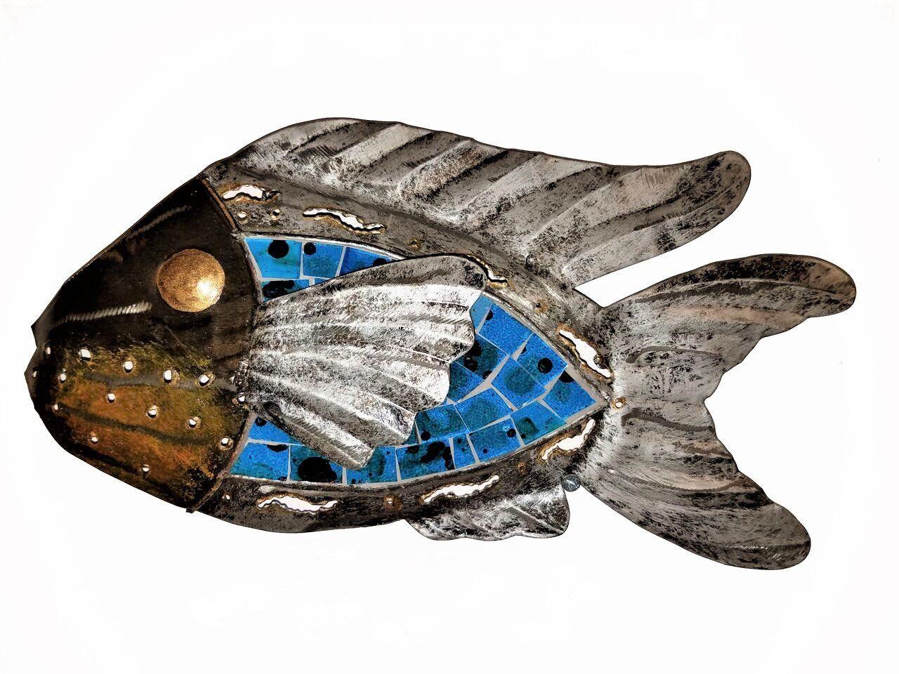 Handchiseled tropical metal art wall decor fish with unique aqua