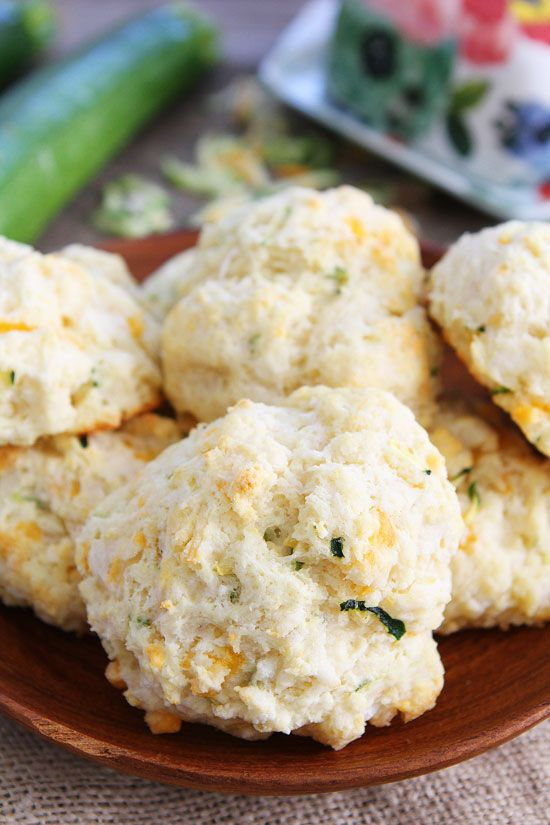 Three Cheese Zucchini Drop Biscuits Recipe on twopeasandtheirpod.com These easy drop biscuits go great with any meal.