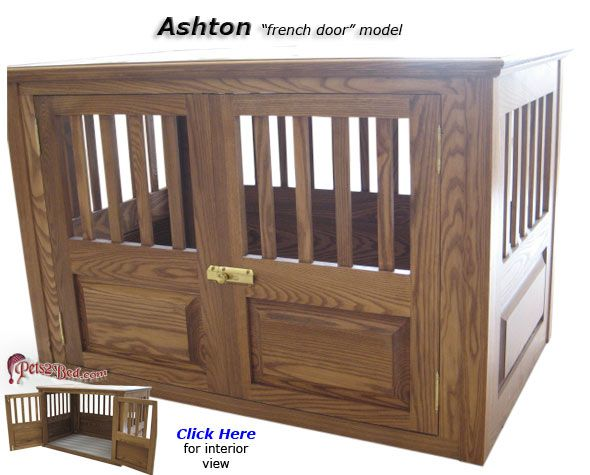 ashton wooden dog crate with french doors - Decorative Dog Crates