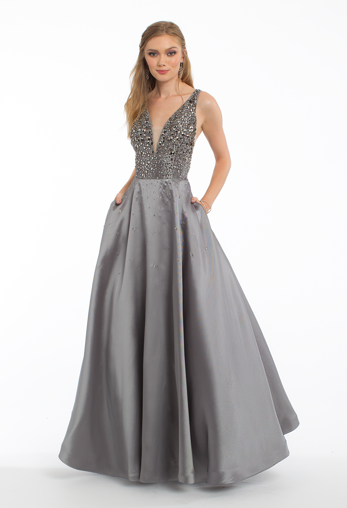 This Ballgown Dress Is A Complete Gem The Plunging Neckline Beaded Bodice And Open Scoop Back Will Dazzle On The Da Wedding Guest Dress Plunge Dress Dresses [ 1732 x 1184 Pixel ]