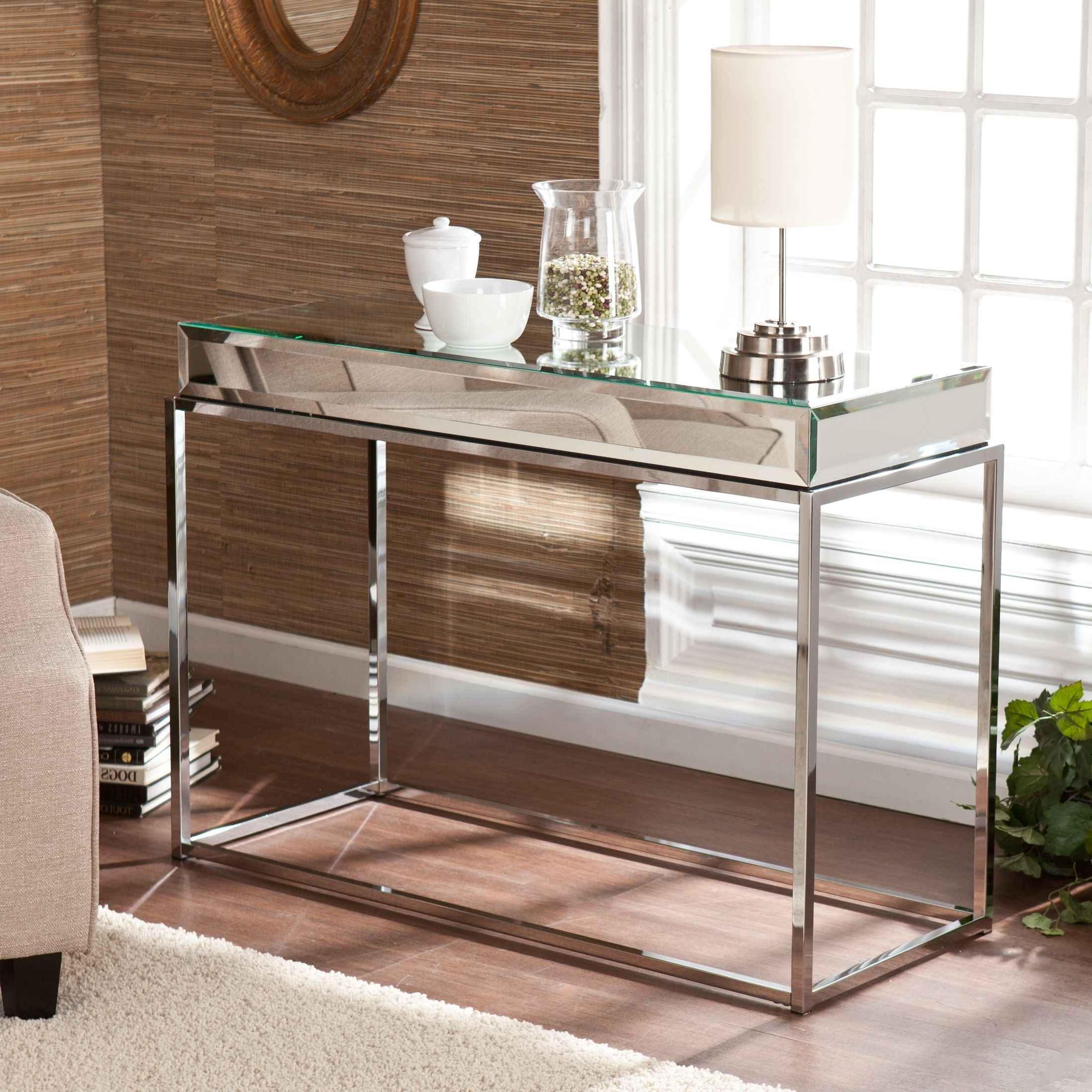 This Upton Home Mirrored Console Sofa Table Adds Contemporary Glam To Any Room The Mirrored T Mirrored Console Table Contemporary Console Table Console Table