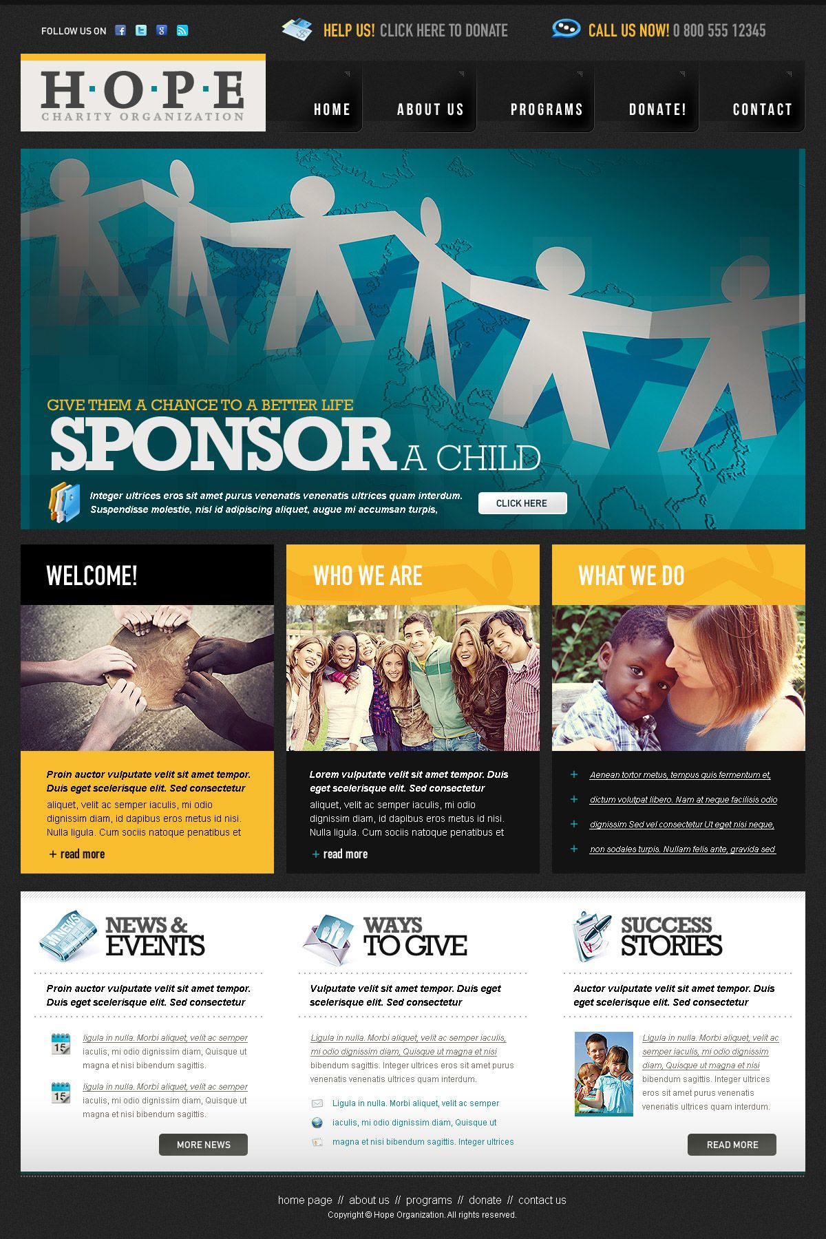Charity Organization PSD Website Template | Free PSD Templates ...