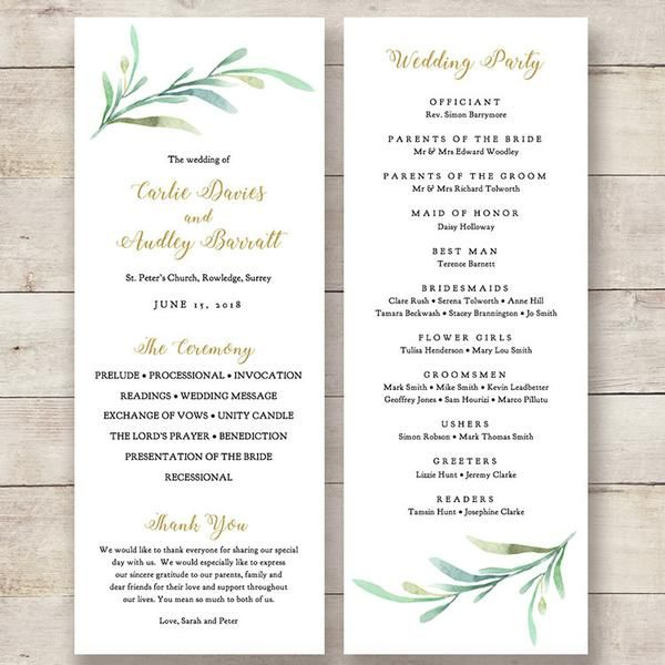 Printable Greenery Wedding program order of service templates to - menu template word free