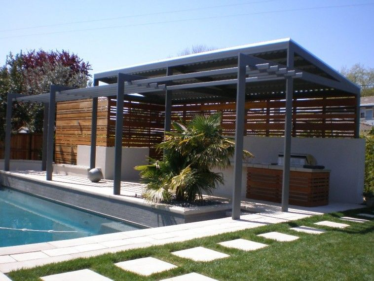 Grey Wooden Pool Patio Shade Combined With Half Wooden Walls Also White  Painted Wall With Sun