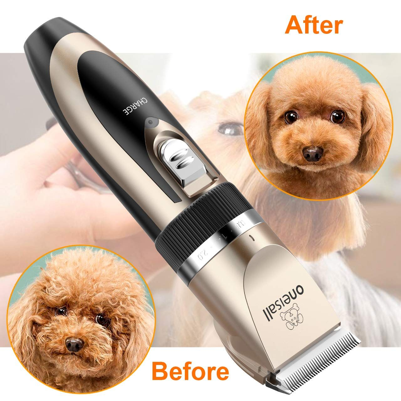 Oneisall Dog Shaver Clippers Low Noise Rechargeable Cordless Electric Quiet Hair Clippers Set For Dogs Cats Pets N Dog Clippers Dog Grooming Clippers Pet Hair