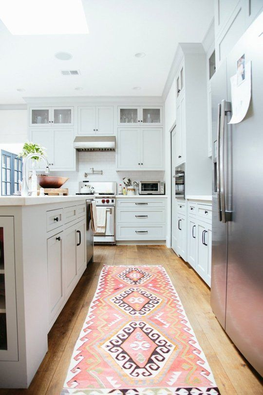 Love This Simple But Adorable Rug In The Kitchen So Different But Cute! The  Colorful Rug Brings Out The Basic White Kitchen