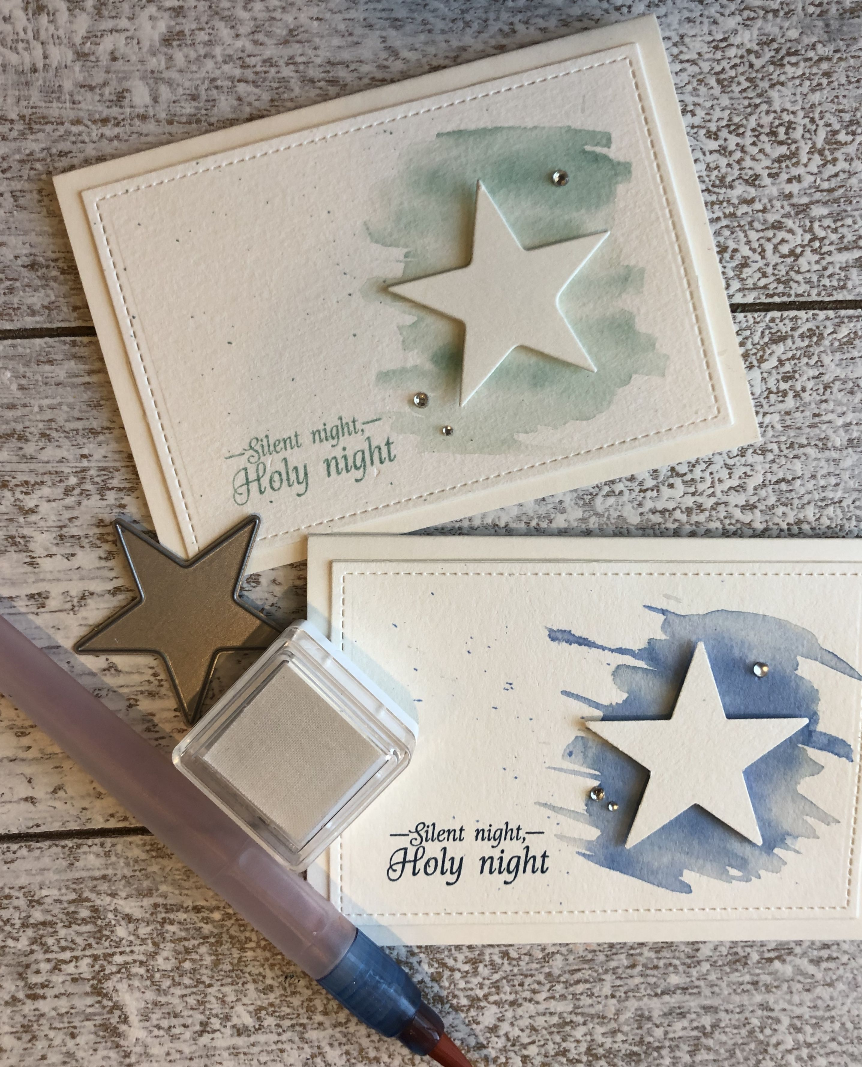 Starry night Christmas cards #noel2019 #christmascard #watercolor christmas card…
