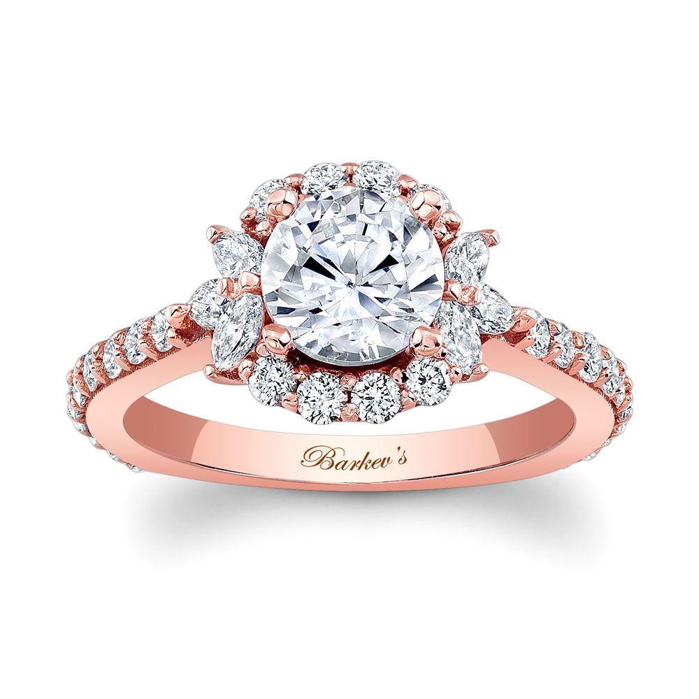 Ladies Barkev's Pink Gold Semi Mount Engagement Ring