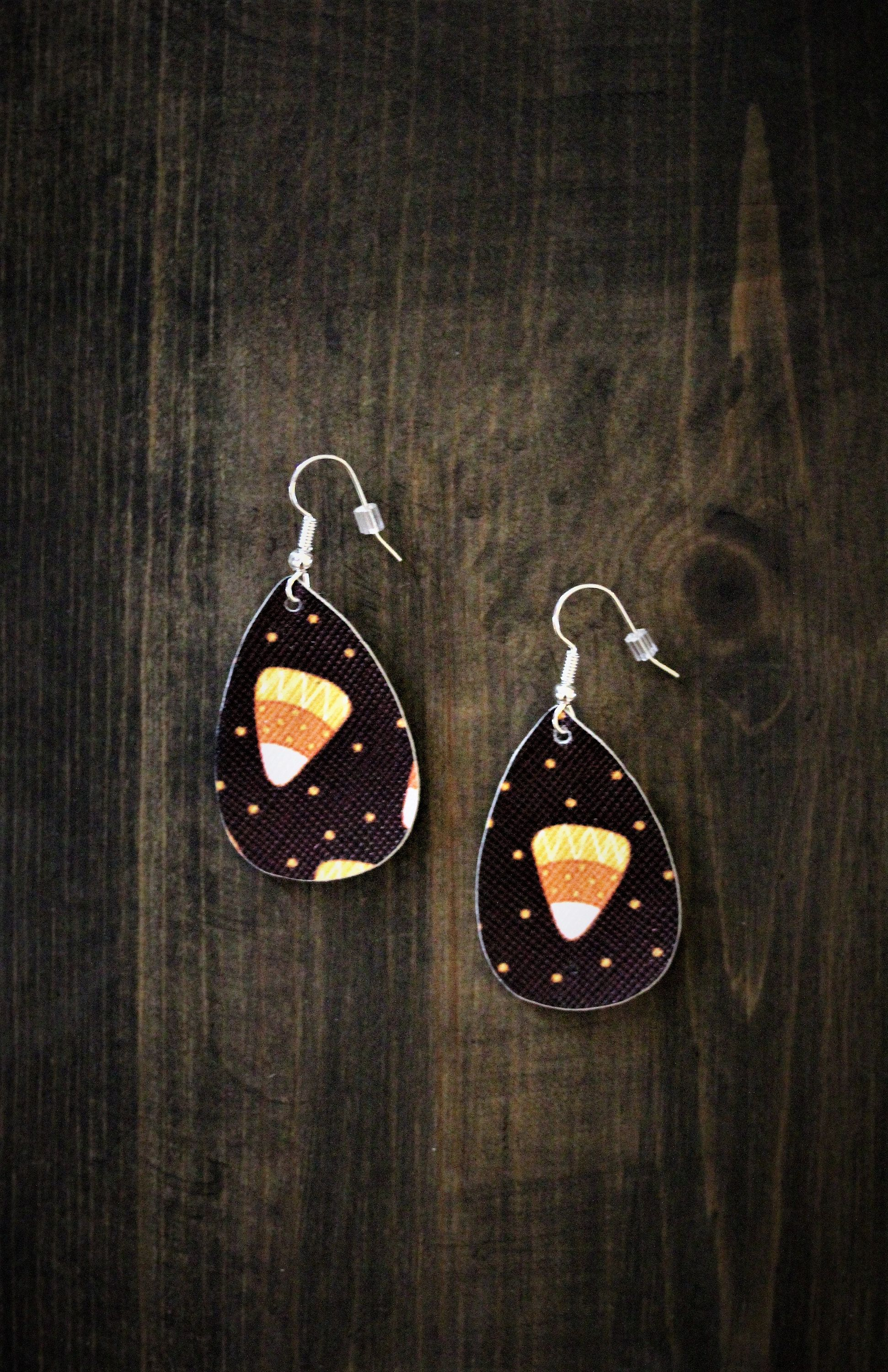 Halloween Faux Leather Earrings Extra Small Oval 1 5