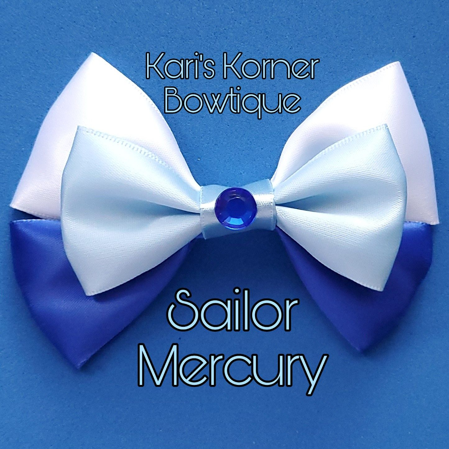 Sailor Mercury Inspired Bow Etsy In 2020 Sailor Mercury Sailor Mini Moon Amethyst Steven Universe