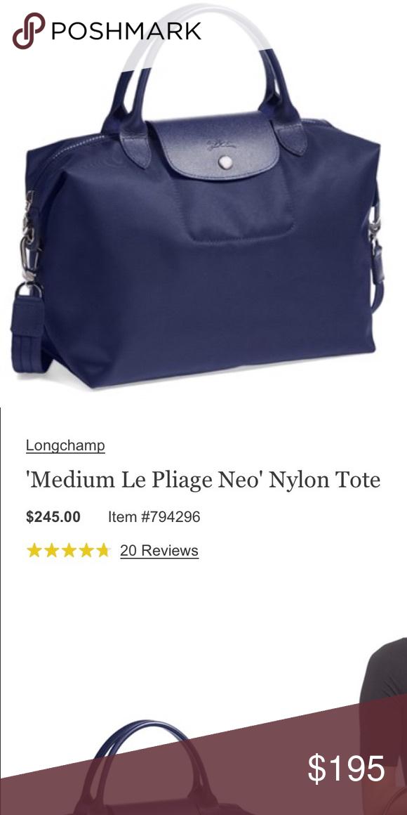 01b7e1c2078 Longchamp 'Medium Le Pliage Medium Neo' Authentic, like new, Blue Longchamp  'Medium Le Pliage Medium Neo' Nylon Tote,it has a long shoulder strap, ...