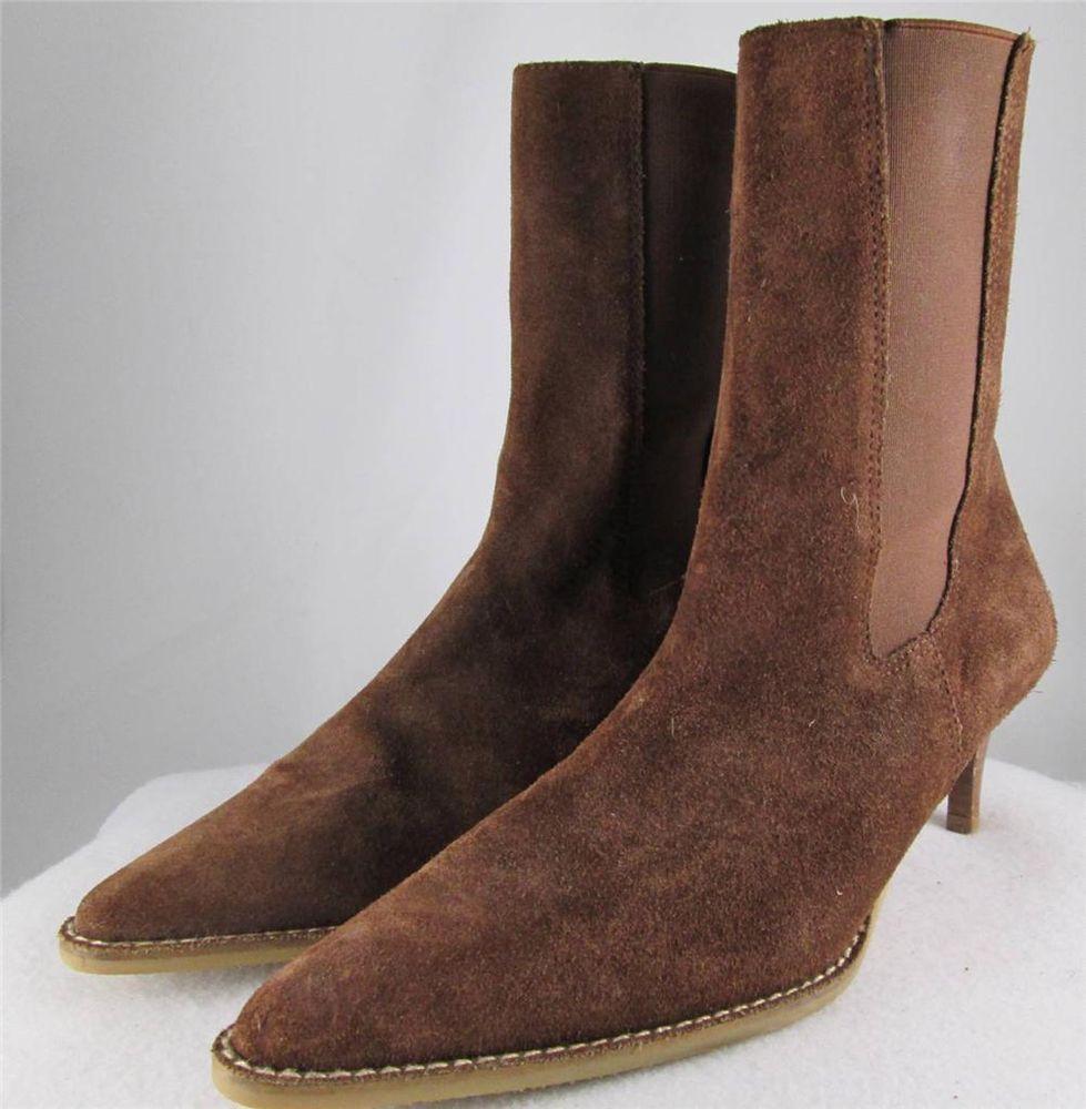 86bf55666acb0 Banana Republic Mid Calf Boot Brown Suede Pull On Pointy Toe Kitten Heel 8  M #BananaRepublic #FashionMidCalf