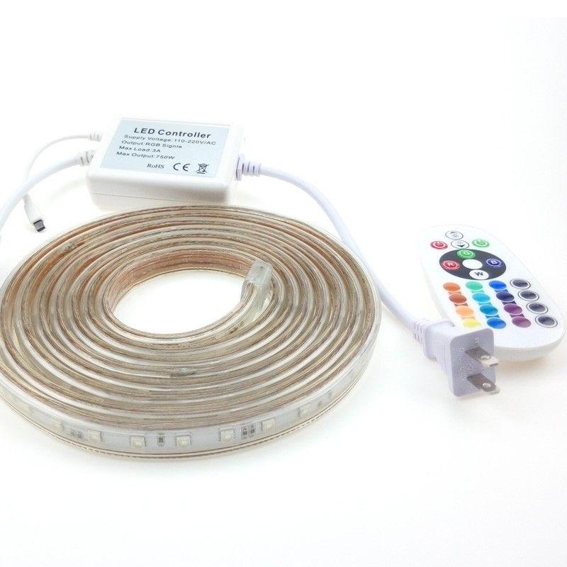 50m Rgb Led Flex Strip Lights 220v Waterproof Addressable Ruban 24keys Remote Controller Multicolor Changing 30m Led Flex Strip Strip Lighting Waterproof Led