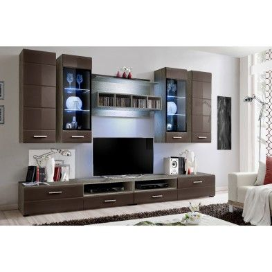 Ensemble mural tv design marron | deco | Pinterest | Ensemble meuble ...