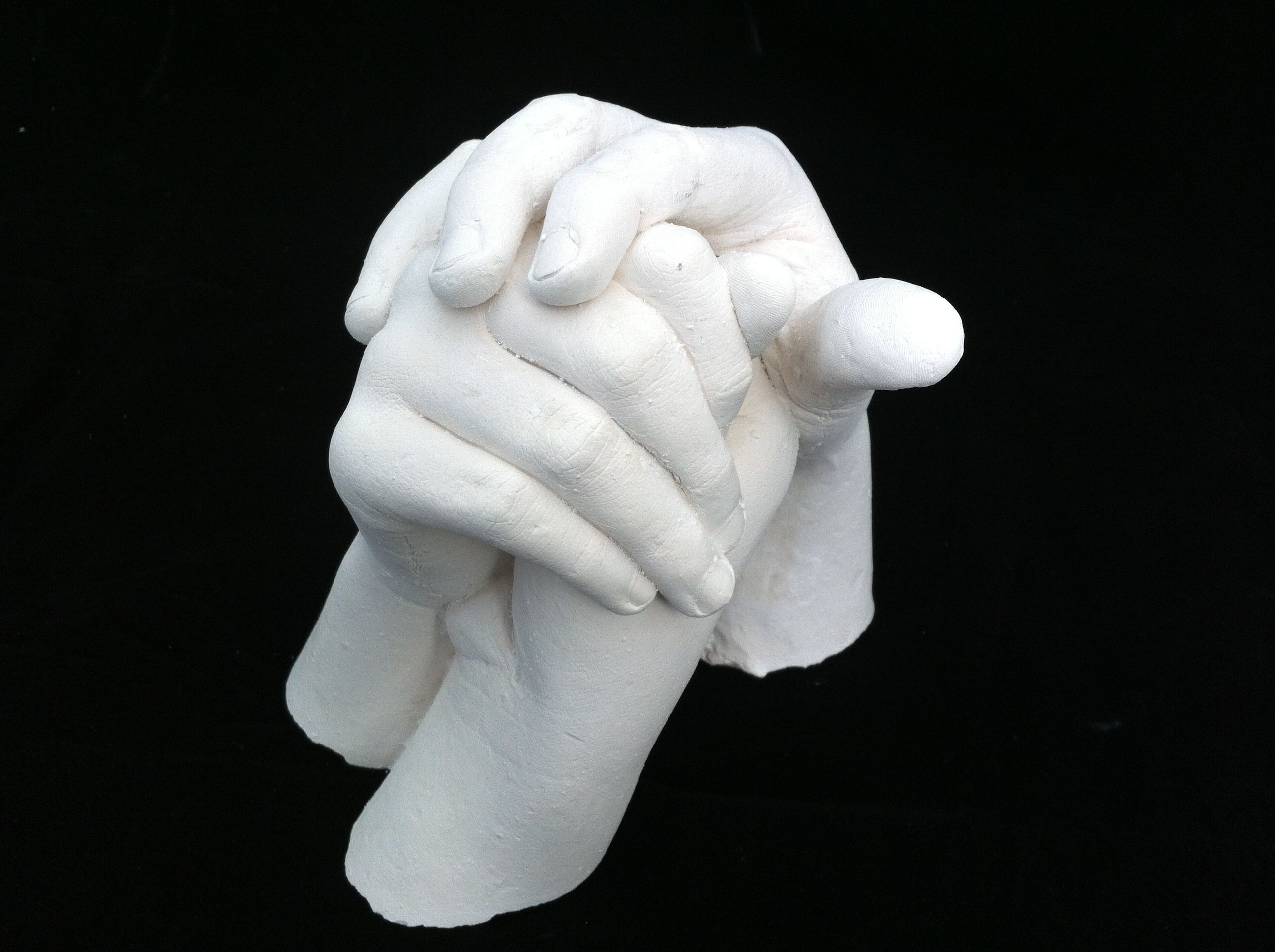 Brothers Hands Cast together. A stunning (and heavy) keepsake statue in stonecast resin. By Babyprints.co.uk