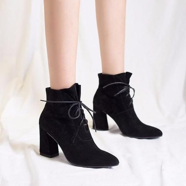 Suede Pointed Toe Ankle Boots Lace Up