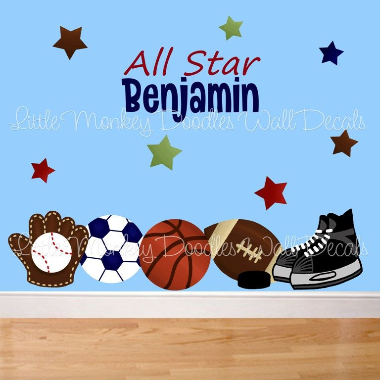 Fabric WALL DECALS All Star Sports PERSONALIZED With Name Football Baseball  Hockey Boyu0027s Bedroom Playroom Baby Nursery Kids Wall Art Decals