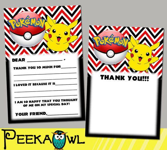 Pokemon Quantity of 12 Fill In Birthday Invitations No Envelopes