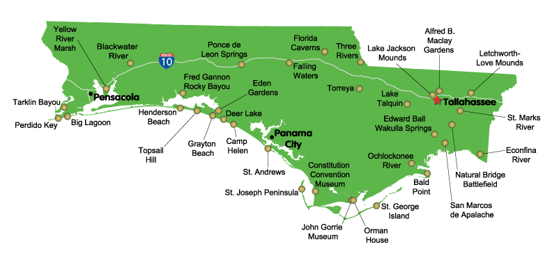 This map shows Florida State parks in Northwest Florida ... Including Map Of Florida State Parks on map of florida gardens, map of florida hunting areas, map of florida national seashores, map of long key state park, map of florida theater, map of florida fishing, map of florida museums, map of washington parks, map of st. andrews state park, map of suwannee river state park, map of florida people, map of south florida, florida state map rv parks, map of blackwater river state park, map of torreya state park, map of lovers key state park, map of lake griffin state park, map of henderson beach state park, map of florida rivers, central florida map state parks,